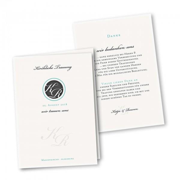 Kirchenheft 4 Seiter – Klappkarte DIN-A5 Kartendesign Monogramm Kreis