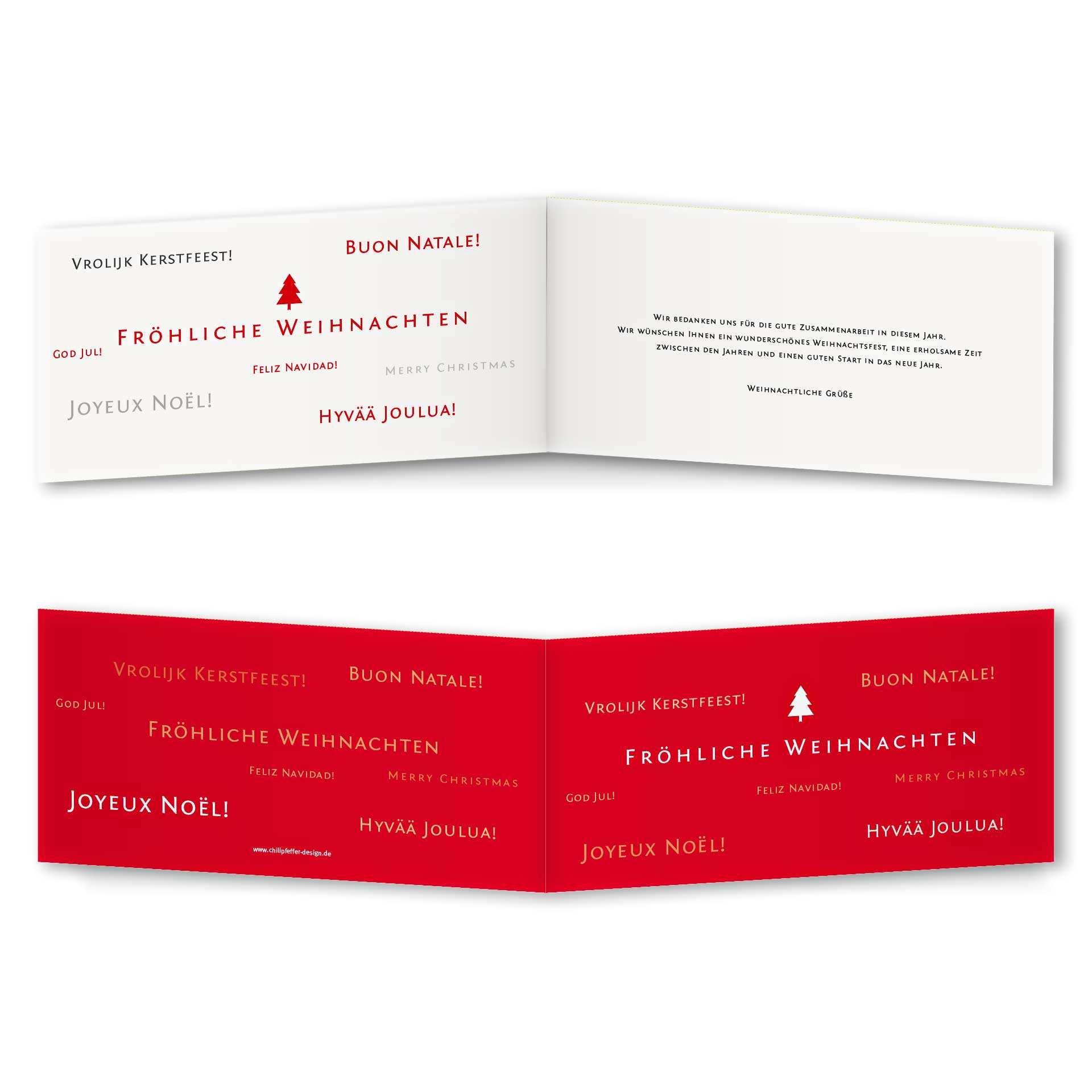 Frohe Weihnachten In Vielen Sprachen.Weihnachtskarten 4 Seiter Din Lang Querformat Mit Ruckenfalz Kartendesign Frohe Weihnachten In Vielen Sprachen Version 1
