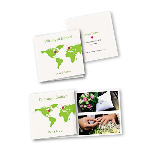 Danksagungskarte – 6-Seiter quadratisch Kartendesign Herzentreffen Version 1