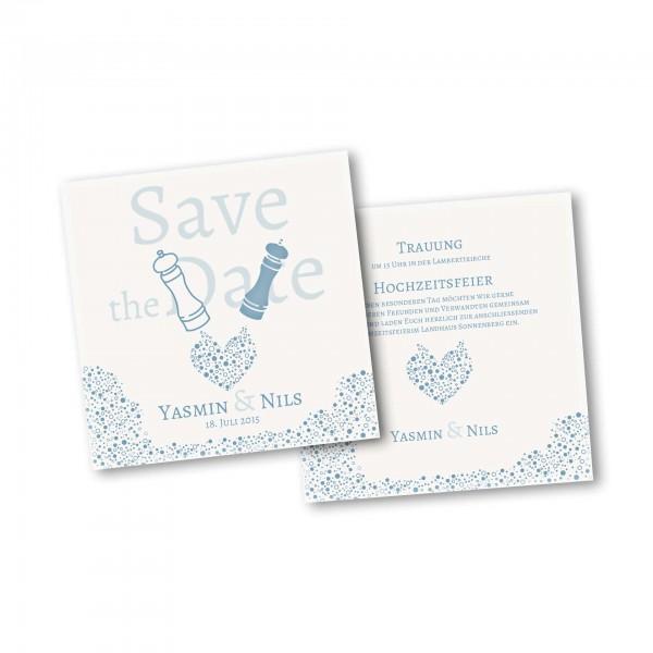 Save the Date Karte – 2-Seiter quadratisch Kartendesign Wie Salz und Pfeffer Version 2
