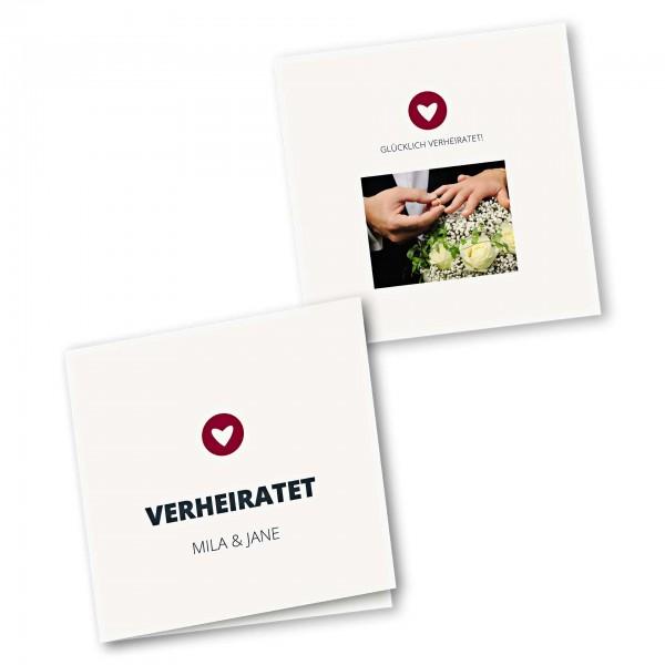 Danksagungskarte – 4-Seiter quadratisch Kartendesign moderne Hochzeitskarte mit Herz im Kreis Version 1