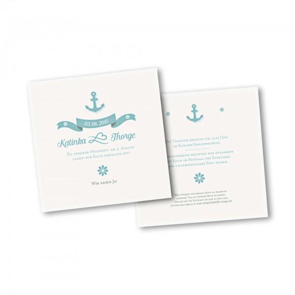 Save the Date Karte – 2-Seiter quadratisch Kartendesign Anker mit Schleife und Schraffur