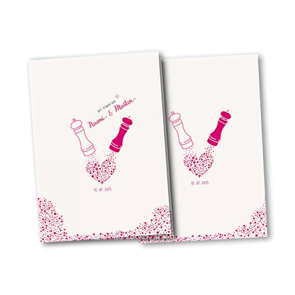 Einladungskarte – 4-Seiter DIN-A5 Kartendesign Wie Salz und Pfeffer Version 4