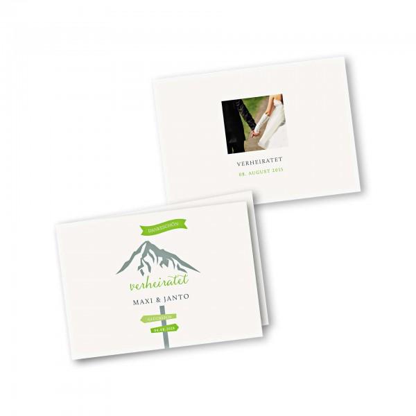 Dankeskarte 4-Seiter DIN-A5 im Design Hochzeitsfeier in den Bergen ...