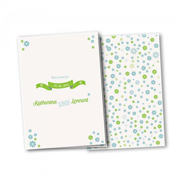 Einladungskarte – 4-Seiter DIN-A5 Kartendesign Verspielte Blumen