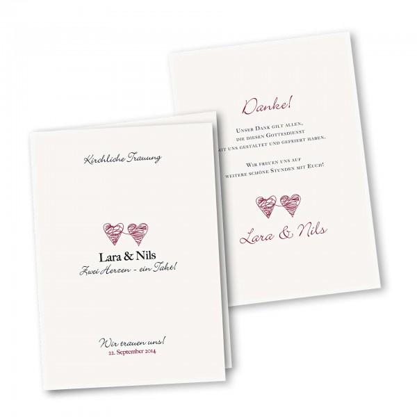 Kirchenheft 4 Seiter – Klappkarte DIN-A5 Kartendesign Zwei Herzen Version 1