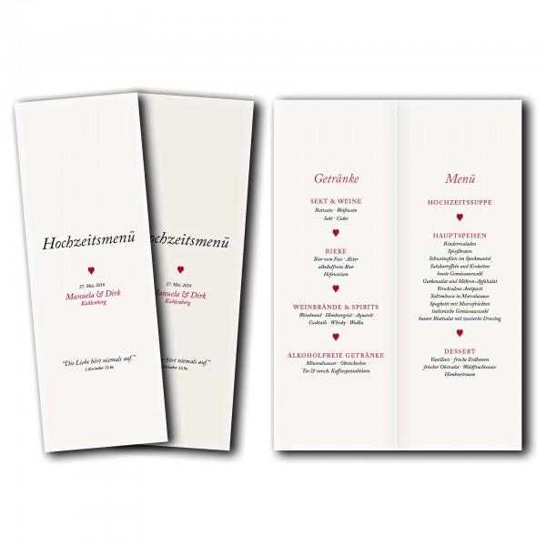 Menükarte – Kartendesign Kleines Herz zur Hochzeit