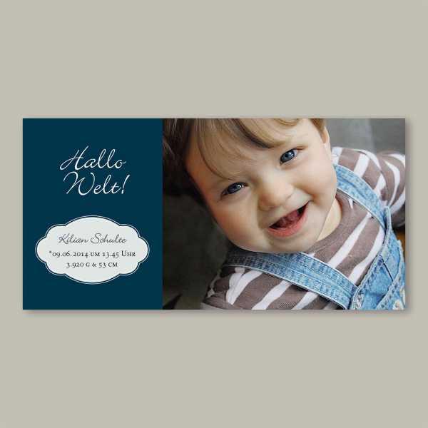 Geburtskarte – Klappkarte – 4-Seiter Klappkarte zur Geburt in der Größe DIN-lang Querformat mit dem Design Kilian