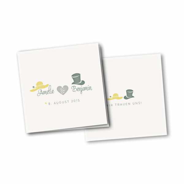 Einladungskarte – 4-Seiter quadratisch Kartendesign Dresscode Hochzeit