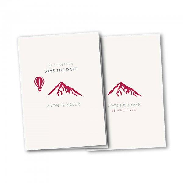 Einladungskarte – 4-Seiter DIN-A5 Kartendesign Hochzeitsfeier in den Bergen Version 4