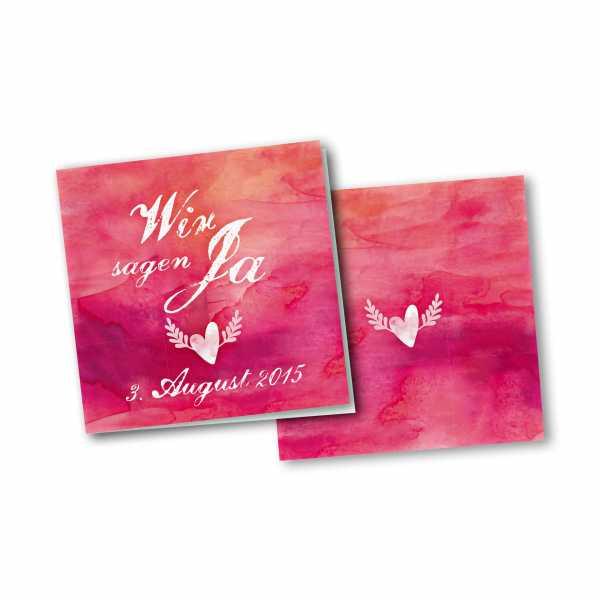 Einladungskarte – 4-Seiter quadratisch Kartendesign Hochzeitsherz mit Flügeln