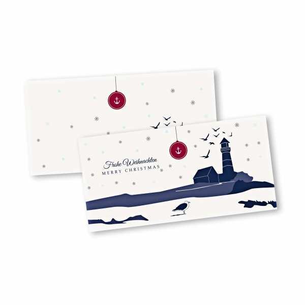 Weihnachtskarte – Klappkarte DIN-lang mit Kopffalz im Kartendesign Inselfest Version 1