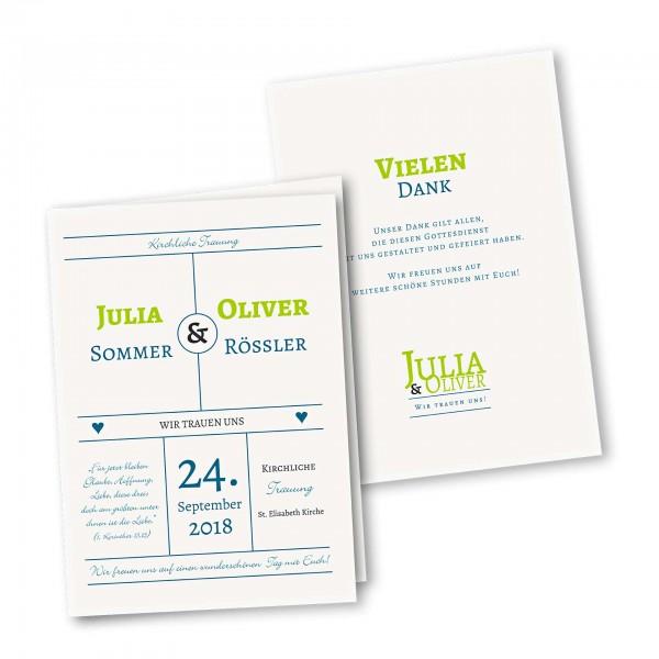 Kirchenheft 4 Seiter – Klappkarte DIN-A5 Kartendesign typografische Einladung Version 1