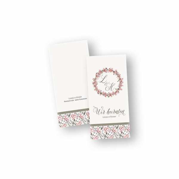Einladungskarten – Klappkarte – DIN-lang im Hochformat mit Kopffalz mit dem Design Blumenkreis