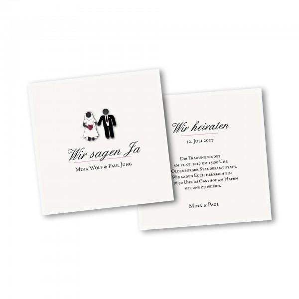 Save the Date Karte – 2-Seiter quadratisch Kartendesign Traumpaar - Wir heiraten
