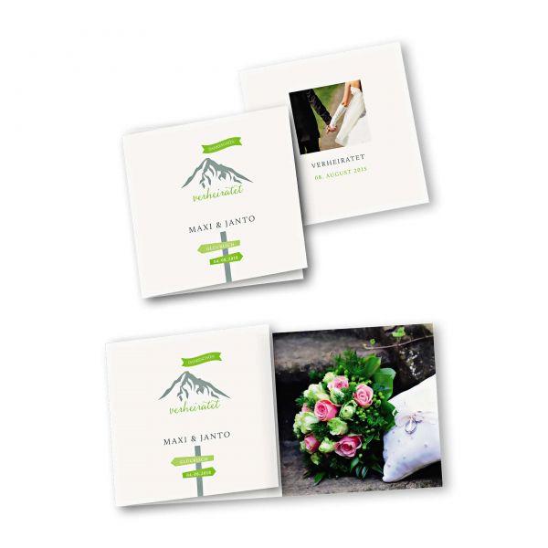 Danksagungskarte – 6-Seiter quadratisch Kartendesign Hochzeitsfeier in den Bergen