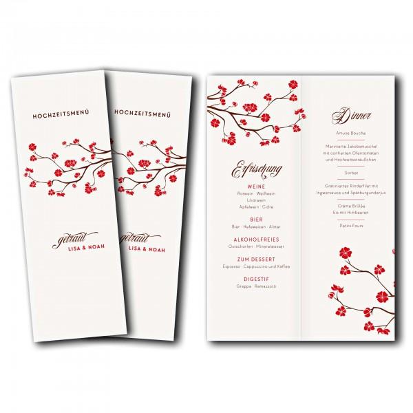 Menükarte – Kartendesign Baumblüte