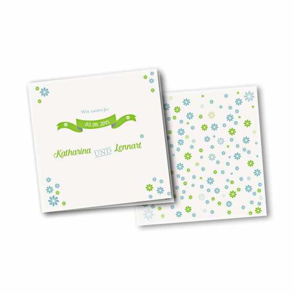 Einladungskarte – 4-Seiter quadratisch Kartendesign Verspielte Blumen