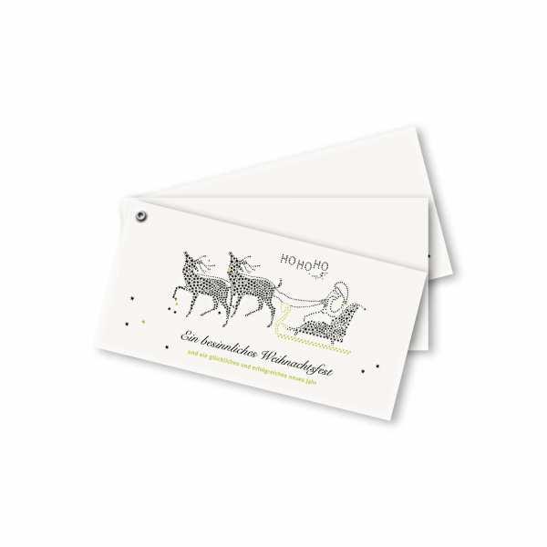 Weihnachtskarte – Fächerkarte DIN-lang Querformat im Kartendesign Weihnachtsschlitten
