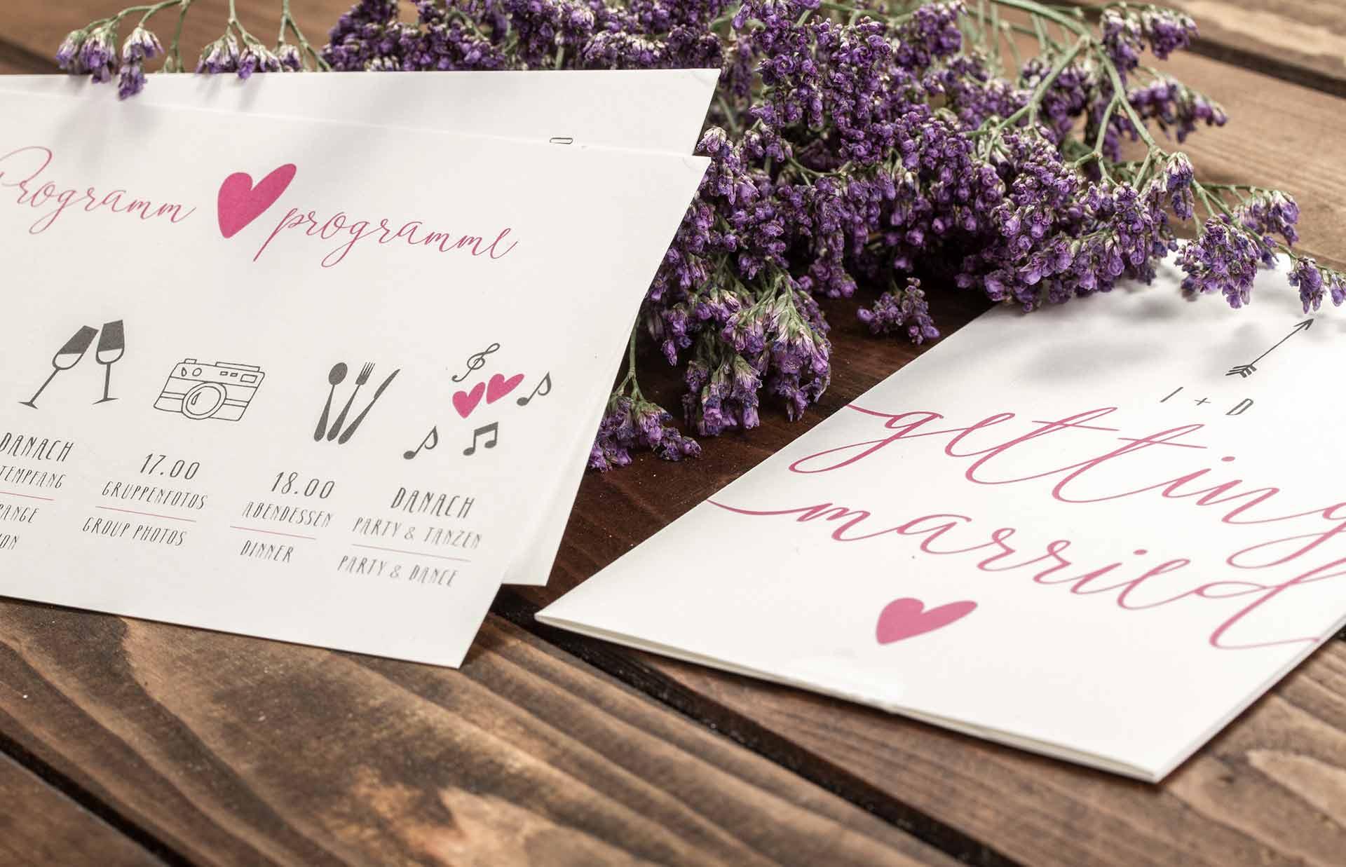 Ablaufplan als Einsteckkarte für die Hochzeitseinladung