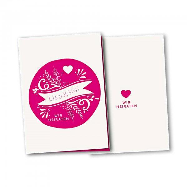 Einladungskarte – 4-Seiter DIN-A5 Kartendesign Kreis und Herz