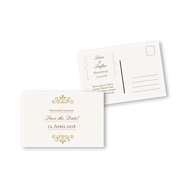 Save the Date Postkarte – 2-Seiter DIN-A6 Kartendesign Princess