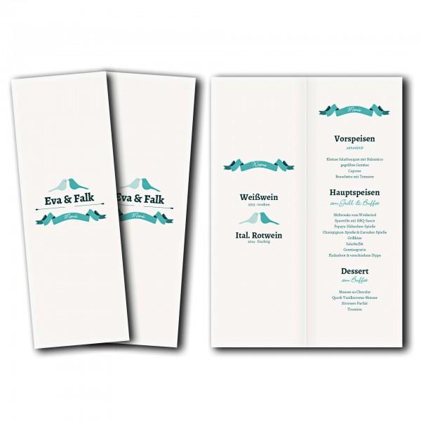 Menükarte – Kartendesign Hochzeitsgezwitscher Version 1