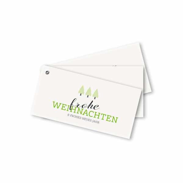 Weihnachtskarte – Fächerkarte DIN-lang Querformat im Kartendesign Frohe Weihnachten mit drei Bäumen grün