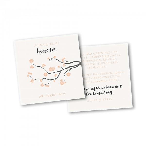 Save the Date Karte – 2-Seiter quadratisch Kartendesign Baumblüte Version 2