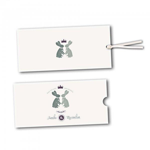 Schuberkarte - Kartendesign Zwei verliebte Hasen Version 2