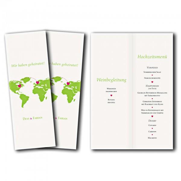 Menükarte – Kartendesign Herzentreffen Version 1