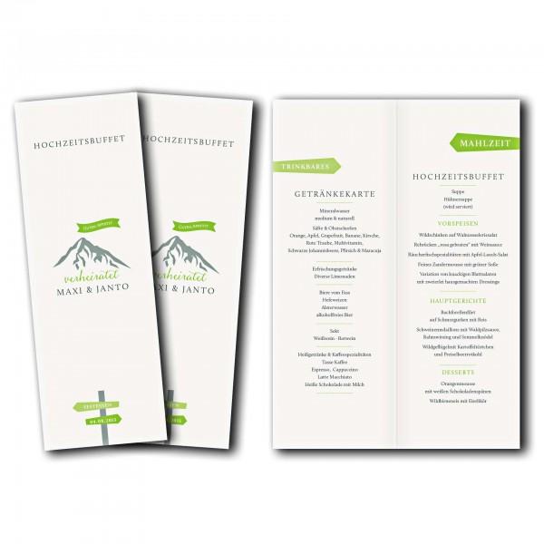 Menükarte – Kartendesign Hochzeitsfeier in den Bergen