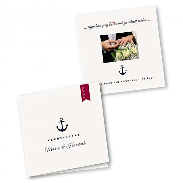 Danksagungskarte – 4-Seiter quadratisch Kartendesign Anker und roter Wimpel