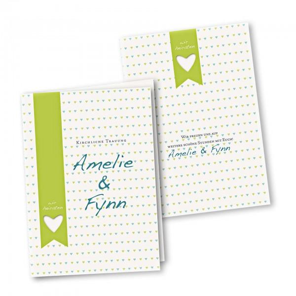 Kirchenheft 4 Seiter – Klappkarte DIN-A5 Kartendesign kleine Herzen Version 2