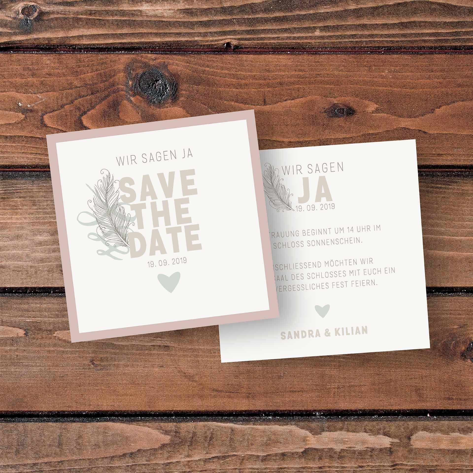 SavetheDate Karten Save the Date - Feder