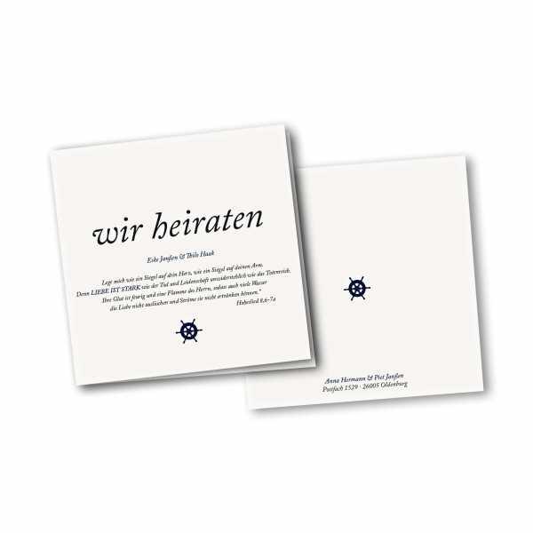 Einladungskarte – 4-Seiter quadratisch Kartendesign Kleines Steuerrad zur Hochzeit