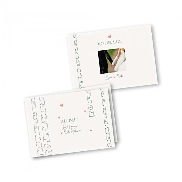 Danksagungskarte – 4-Seiter DIN-A5 Querformat Kartendesign Verliebt unter Birken