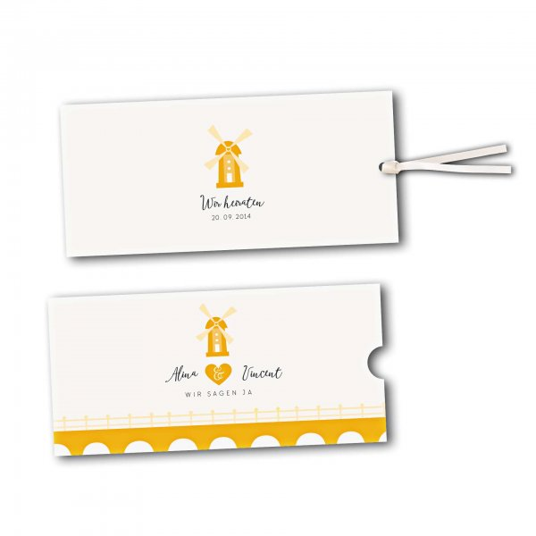Schuberkarte - Kartendesign Heiraten in einer Mühle