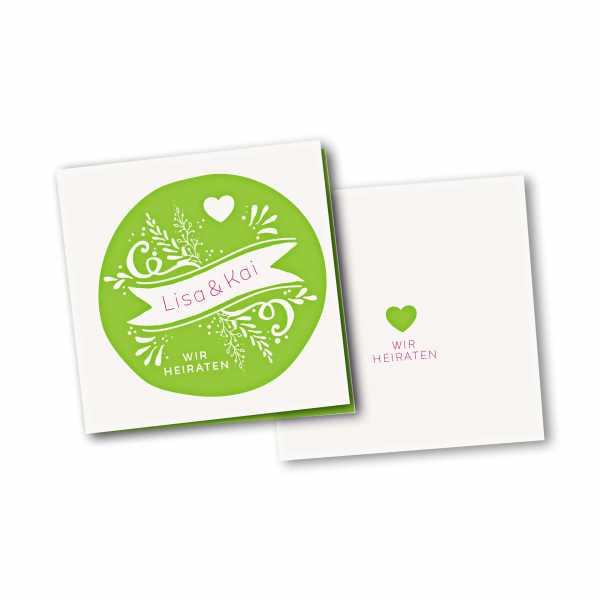 Einladungskarte – 4-Seiter quadratisch Kartendesign Kreis und Herz Version 2