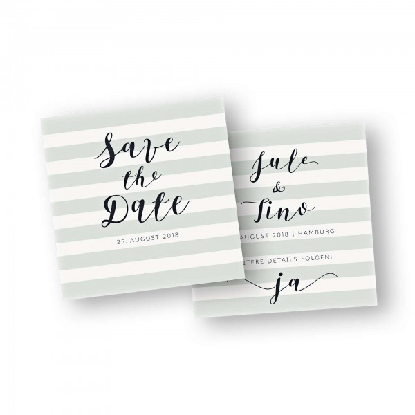 Save the Date Karte – 2-Seiter flache Karte quadratisch mit dem Kartendesign modern stripes