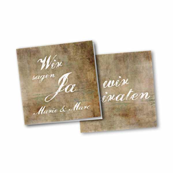 Einladungskarte – 4-Seiter quadratisch Kartendesign Vintage Hochzeitskarte