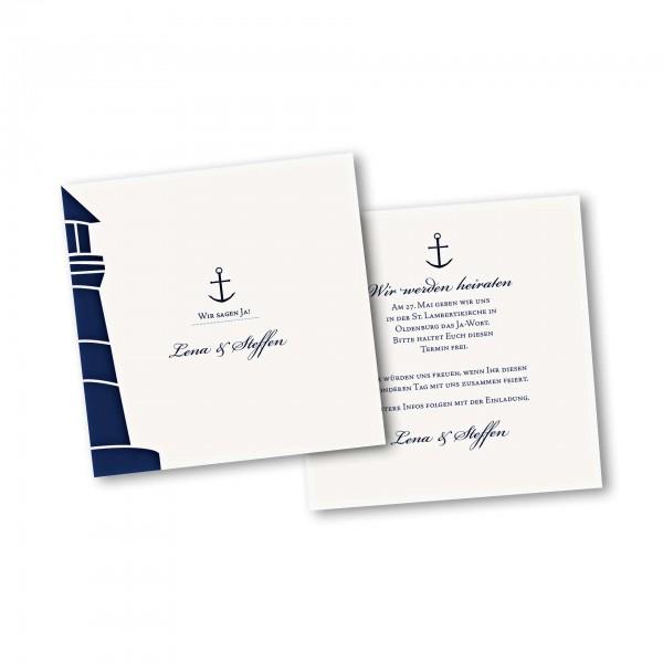 Save the Date Karte – 2-Seiter quadratisch Kartendesign Maritim
