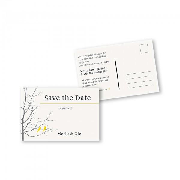 Save the Date Postkarte – 2-Seiter DIN-A6 Kartendesign Verliebte Vögel im Baum