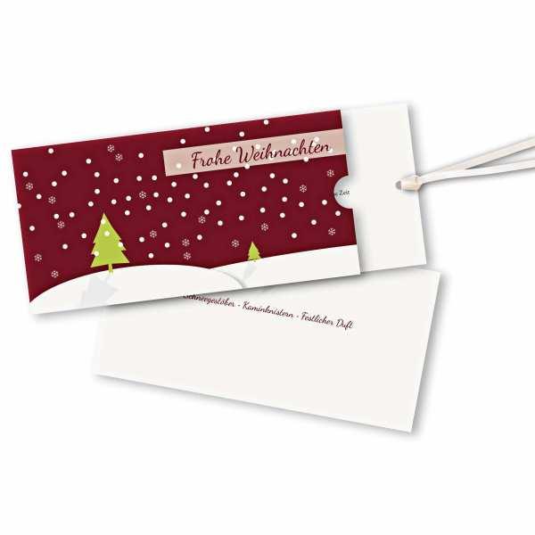 Weihnachtskarte – Schuberkarte DIN-lang mit Satinband Schneelandschaft