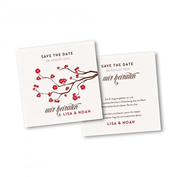 Save the Date Karte – 2-Seiter quadratisch Kartendesign Baumblüte