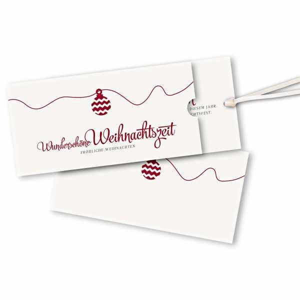 Weihnachtskarte – Schuberkarte DIN-lang mit Satinband Weihnachtskugel Version 2