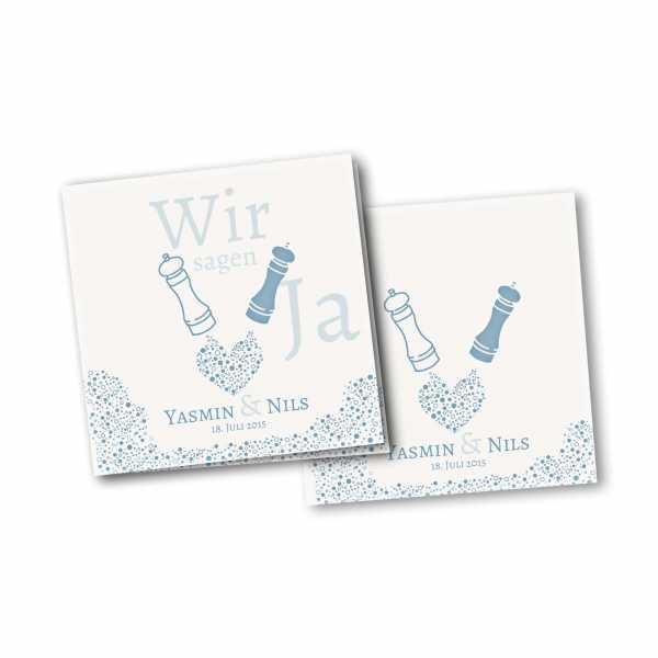 Einladungskarte – 4-Seiter quadratisch Kartendesign Wie Salz und Pfeffer Version 2