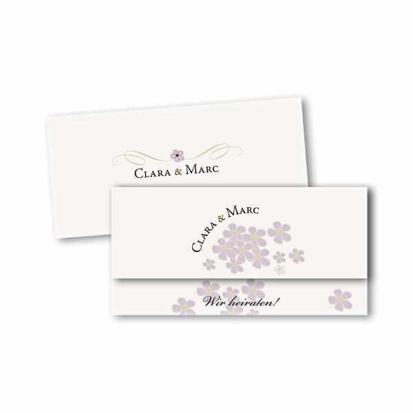 Einladungskarte – asymmetrische Klappkarte DIN-lang im Kartendesign Blütenzauber