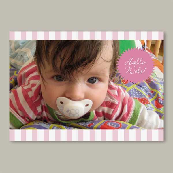Geburtskarte – Klappkarte – 4-Seiter Klappkarte zur Geburt in der Größe DIN-A6 Querformat mit dem Design Helena