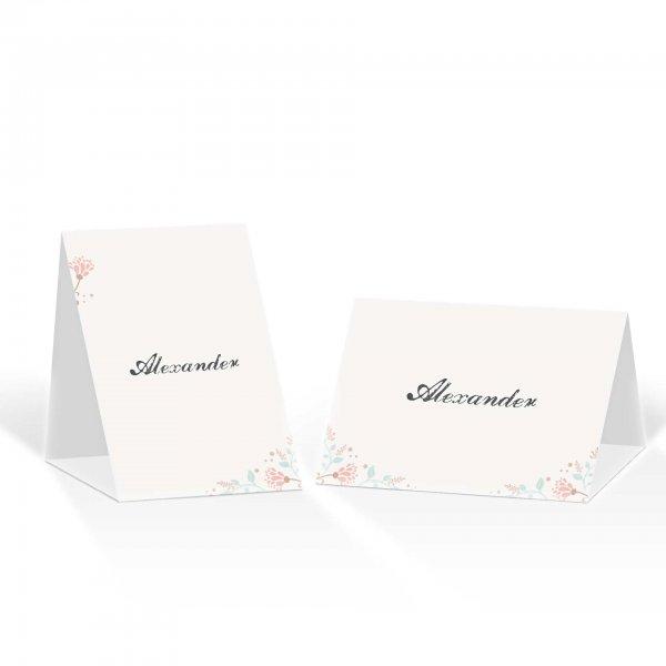 Platzkarte Aufsteller A6 – Kartendesign Dezente Blumen und florale Elemente